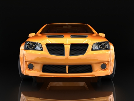 Sports car front view. The image of a sports gold car on a black background Stock fotó