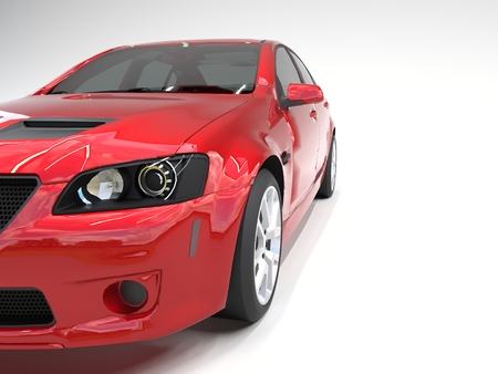 sporty: Sports car front view. The image of a sports red car on a white background