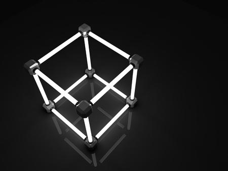 tubos fluorescentes: Resplandeciente cubos de tubos fluorescentes. Composición abstracta de las instalaciones de procesamiento geométrico.