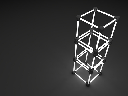 tubos fluorescentes: Glowing cubes of fluorescent tubes. Abstract composition of geometric processing facilities.