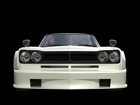 White sports coupe. White race car. Retro race. Japanese School tuning. Uniform black background. Three-dimensional model. Raster illustration Stock Photo