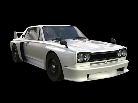 coupe: White sports coupe. White race car. Retro race. Japanese School tuning. Uniform black background. Three-dimensional model. Raster illustration Stock Photo