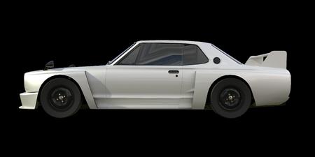 car tuning: White sports coupe. White race car. Retro race. Japanese School tuning. Uniform black background. Three-dimensional model. Raster illustration Stock Photo