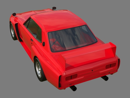 car race: Red sports coupe. Red race car. Retro race. Japanese School tuning. Uniform gray background. Three-dimensional model. Raster illustration
