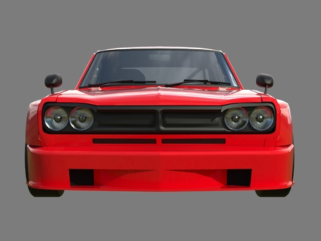 coupe: Red sports coupe. Red race car. Retro race. Japanese School tuning. Uniform gray background. Three-dimensional model. Raster illustration