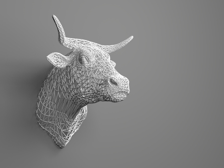 artificial model: Artificial bulls head hanging on the wall. Polygonal head of a bull. Cows from the three-dimensional grid. The object of art on the wall. Volume model. Meshwork Stock Photo