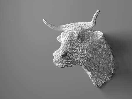 cattle grid: Artificial bulls head hanging on the wall. Polygonal head of a bull. Cows from the three-dimensional grid. The object of art on the wall. Volume model. Meshwork Stock Photo