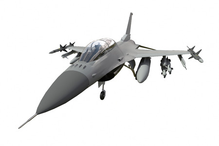 The three-dimensional model of a military aircraft of the NATO countries. Aircraft with full ammunition. The armament of the aircraft. Raster illustration of the aircraft. A uniform background