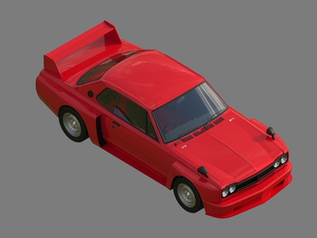 car tuning: Red sports coupe. Red race car. Retro race. Japanese School tuning. Uniform gray background. Three-dimensional model. Raster illustration