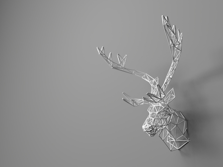 tete de cerf: Artificial deer head hanging on the wall. Polygonal head of a deer. Deer from the three-dimensional grid. The object of art on the wall. Volume model. Meshwork