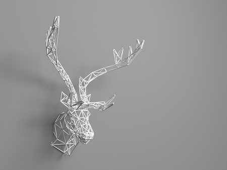 meshwork: Artificial deer head hanging on the wall. Polygonal head of a deer. Deer from the three-dimensional grid. The object of art on the wall. Volume model. Meshwork