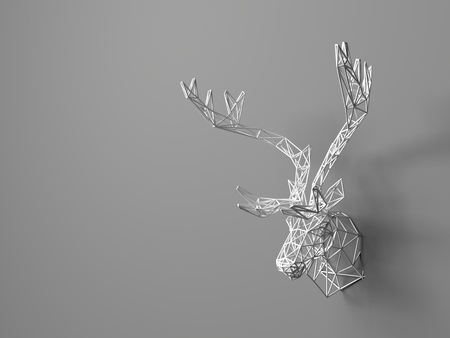 �deer: Cabeza de ciervo Artificial colgado en la pared. Cabecera poligonal de un ciervo. Deer Desde la rejilla tridimensional. El objeto de arte en la pared. Modelo de volumen. Malla Foto de archivo