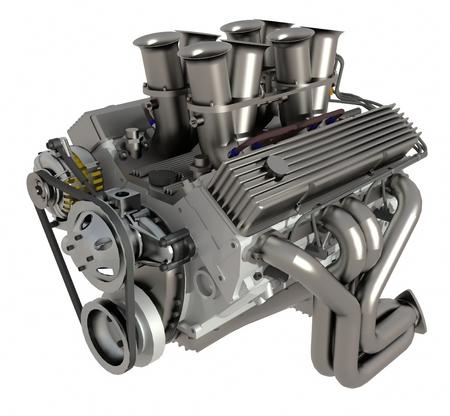 車のエンジン。白い背景で隔離の現代車のエンジンの概念