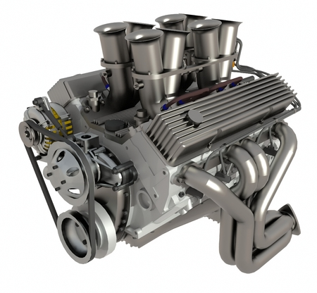 Car engine. Concept of modern car engine isolated on white background Standard-Bild