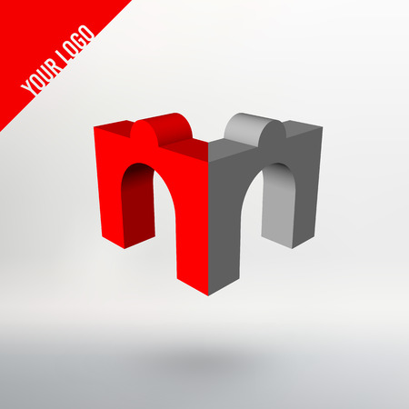 arches: Abstract vector logo. Arches in perspective projection. Stylized M Illustration