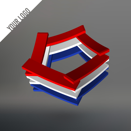 pentagon: Abstract logo. Pentagon as leaves stacked. Planks stacked in a circle pentagon. Logo in the colors of the national flag of the Netherlands Illustration