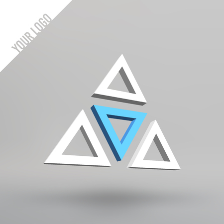 Abstract vector 3d logo. Arches in perspective projection. Figure of triangles for your design Illustration