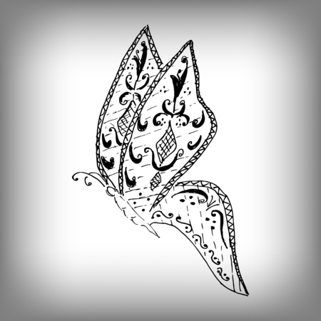 dettagli: Magic butterfly style , freehand drawing. High details isolated on white background. Monochrome sketch