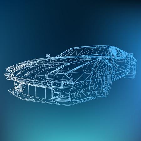 Abstract concept de vecteur Creative fond de modèle de voiture 3d. Voiture de sport