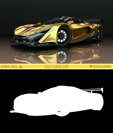 layer mask: Sports car front view. The image of a sports gold car on a black background. Combined illustration of a normal picture and alpha channel. Raster graphics. Three-dimensional graphics