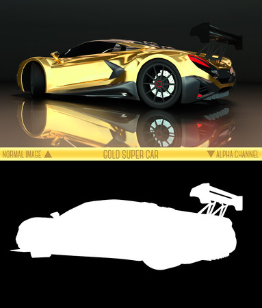 spoiler: Sports car rear view. The image of a sports gold car on a black background. Combined illustration of a normal picture and alpha channel. Raster graphics. Three-dimensional graphics