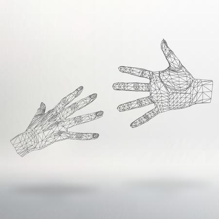 mesh: Mesh polygonal background hand of lines. Illustration