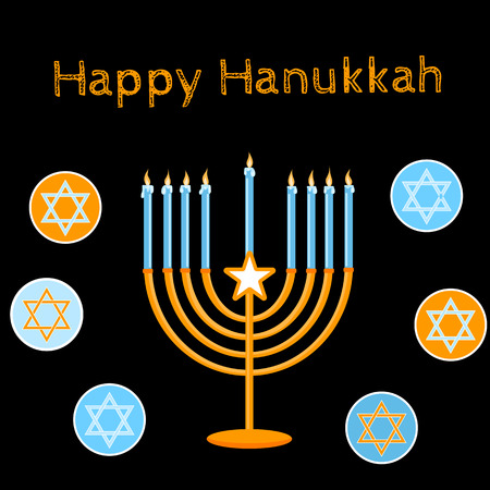hanukah: Jewish Holiday. Happy Hanukkah card design. Vector illustration.