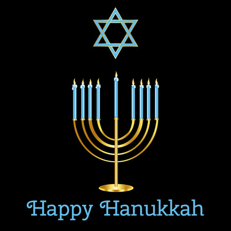 Happy Hanukkah card design.  Illustration