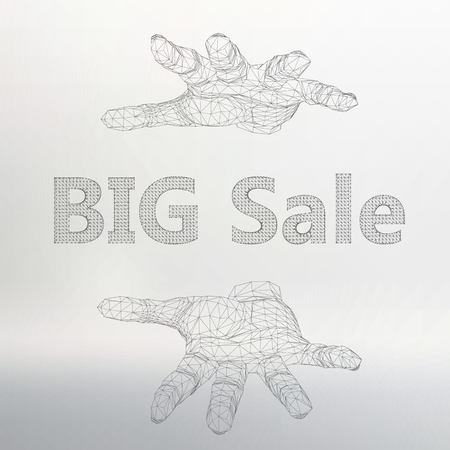 locution: Vector illustration of big sale on the arm.