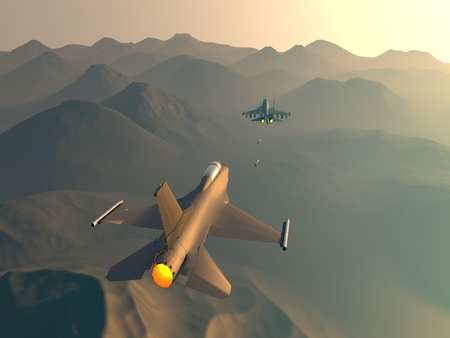 su: Turkish fighter attack on Russian bomber. Attack of the Turkish aircraft in the Russian plane. Raster illustration. Computer graphics. 3d model. The re-enactment of the battle over the desert Stock Photo
