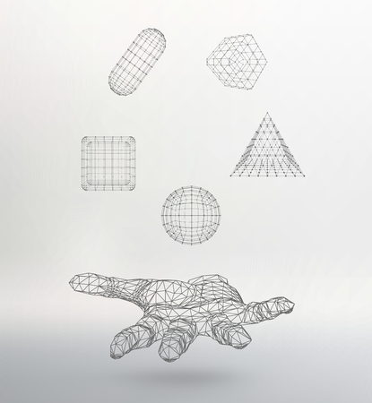 mesh: Polygonal hand Mesh polygonal background.  Illustration