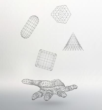 mesh: Mesh polygonal background. Illustration