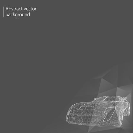3 d の車のモデルの創造的な概念を抽象的な背景。