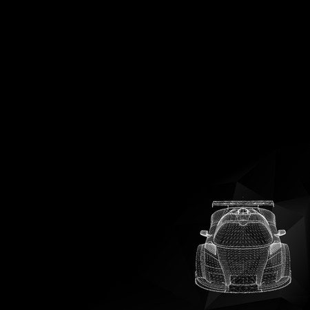 black and white image: Abstract Creative concept background of 3d car model.