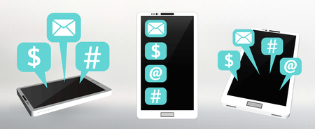flat screen: Set Flat vector illustration of modern Mobile phone with different icons Illustration