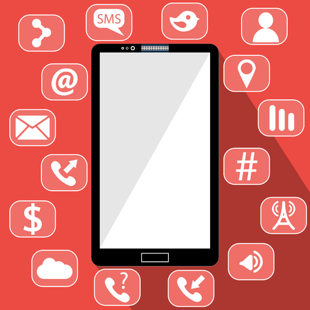 smartphone apps: Flat vector illustration of modern Mobile phone with different icons.
