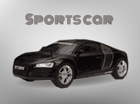 spoiler: Sports car front view. The image of a sports back car on a gray background Illustration