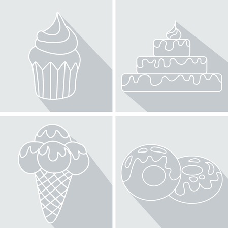 glazed: Set donut icon with pink glaze, Strawberry Muffin,  hamburger and Ice Cream with long shadow.