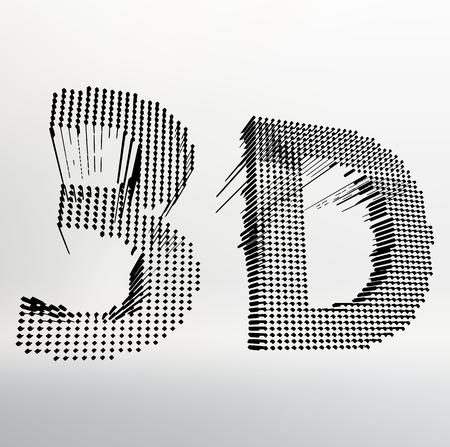 stereoscope: inscription-3D. illustration of 3D word. Vector illustration