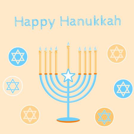 Jewish Holiday. Happy Hanukkah card design. Vector illustration.