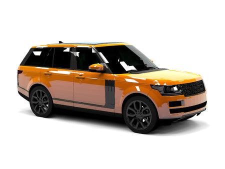 4wd: Large luxury SUV orange. Front and side. White isolated background