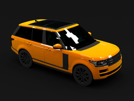 matte: Large luxury SUV orange. Front and side. Matte black background