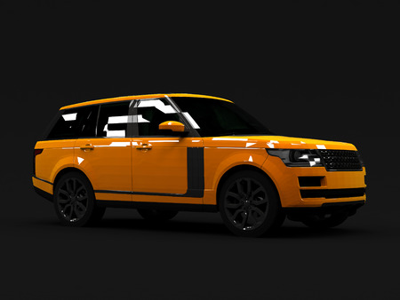 matte: Large luxury SUV orange. Front and side. Matte black background.