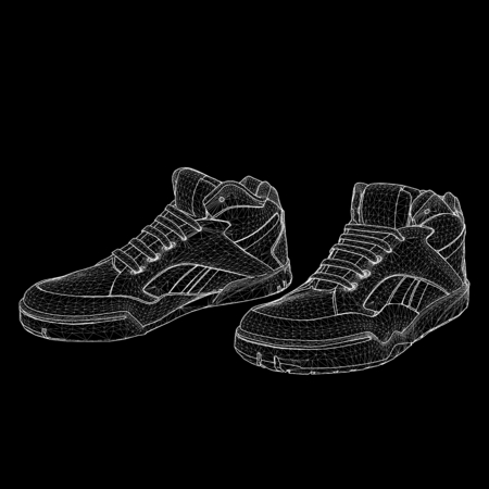 Vector illustration eps 10 of Sport shoes for running. Scope of lines and dots. Molecular lattice. The structural grid of polygons