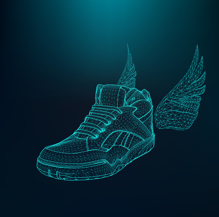 fashion shoes: Vector illustration eps 10 of Sport shoes for running. Scope of lines and dots. Molecular lattice. The structural grid of polygons