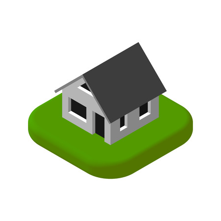 suburban street: Isometric 3D icon. Pictograms House. Vector illustration eps 10. Illustration