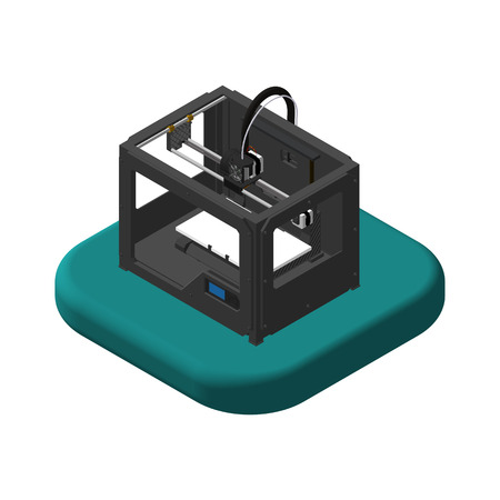 Isometric icons 3D Printer. Pictograms 3D Printer. Isolated vector illustration.