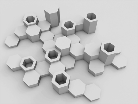 Abstract background of hexagons. Voluminous shapes. The bright monochrome range. Modern hexagonal elements in a perspective view