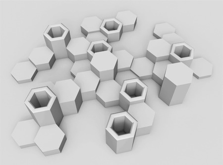 voluminous: Abstract background of hexagons. Voluminous shapes. The bright monochrome range. Modern hexagonal elements in a perspective view