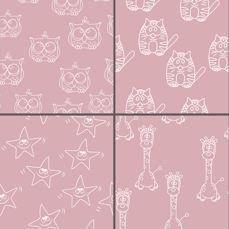 grunge banner: Set Funny Seamless pattern with cat, giraffe, owls. Baby vector pattern. Cartoon vector seamless wallpaper.